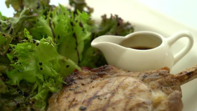 pork steak with salad video