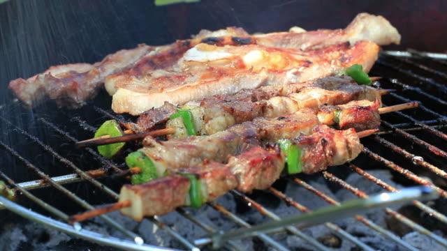 Pork sticks in Barbecue HD video