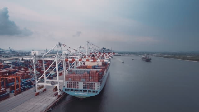 Port Containers : Aerial video