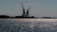 Port crane near the water video