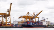 Port of container cargo ship time lapse and zoom out video