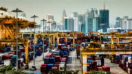 Port of loading in the big city,Panning shot video