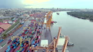 Port of Long Beach, aerial view video