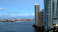 Port of Miami at Dusk From Brickell Key video