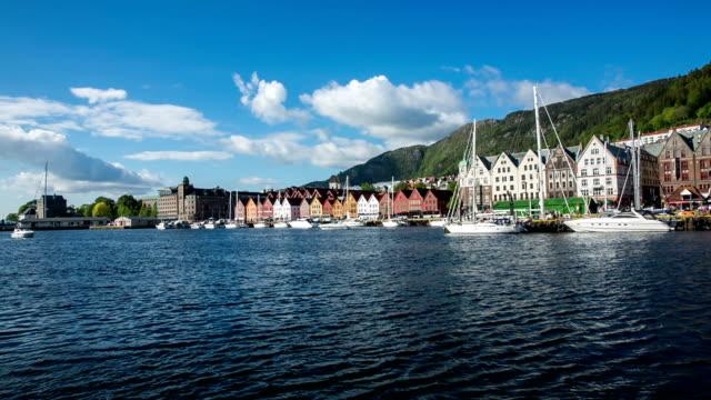 Port of old Hanseatic in Bergen, Norway video