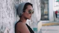 Portait of urban skate girl in street video