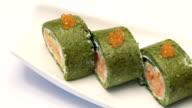 Portion of delicious caviar sushi video