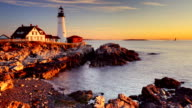 Portland Head Lighthouse, Maine, USA at sunrise video