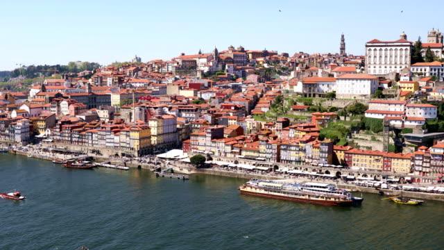 Porto city with Douro river and Dom Luis I bridge video