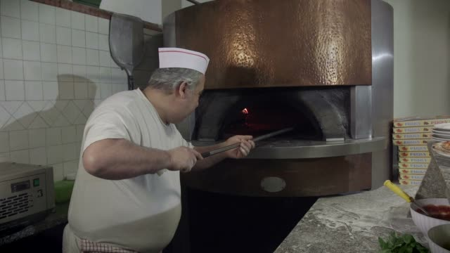 Portrait Man At Work Cook Pizza Restaurant Kitchen Food Italy video