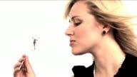 Portrait of a beautiful blonde girl video