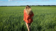 Portrait of a beautiful blonde young romantic woman in a red shirt walking slowly at the green field. View from the back. Breathing video