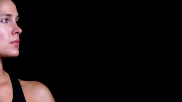 Portrait of a beautiful Caucasian woman athlete video