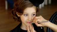 Portrait of a beautiful little girl with make-up video
