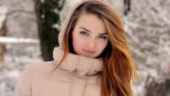 Portrait of a Beautiful Woman in Winter video