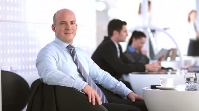 HD DOLLY: Portrait Of A Businessman At The Café video