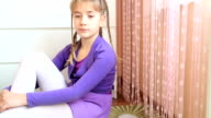 Portrait of a cute young girl video