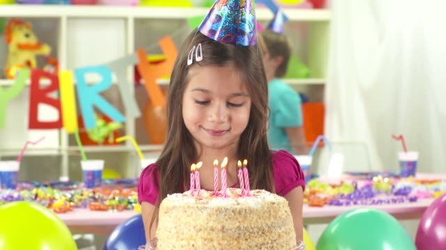 HD DOLLY: Portrait Of A Girl Holding Birthday Cake video