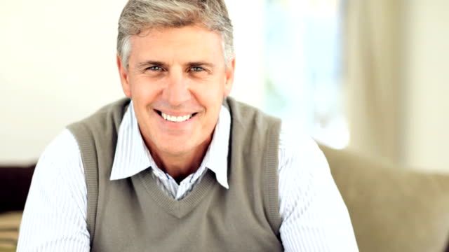 Portrait of a happy mature man video
