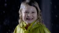Portrait Of A Little Girl In The Rain video