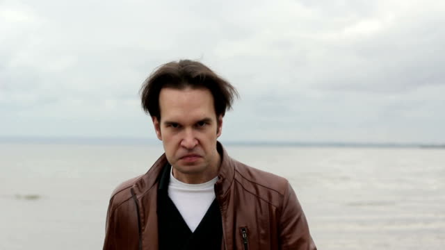 Portrait of a man with angry expression video