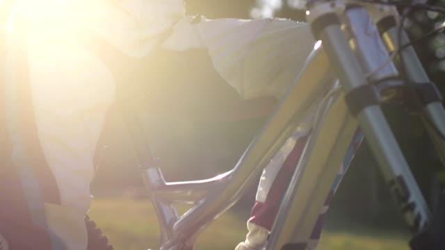 Portrait of a mountain biker girl video
