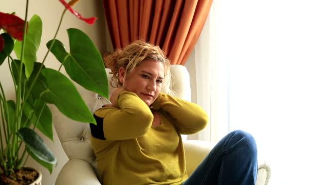 Portrait of a painful woman video