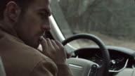 Portrait of a pensive man in car video