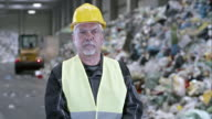 PAN portrait of a recycling facility worker video