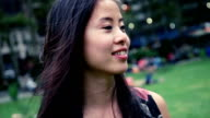 Portrait of a young cheerful woman video