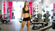 Portrait of active boxer woman's waist and well trained stomach video