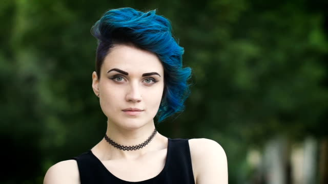 portrait of an attractive punk girl with perfect fair skin video