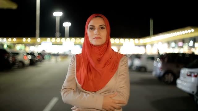 Portrait of Arab woman on the street video
