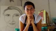 Portrait of artist in studio video