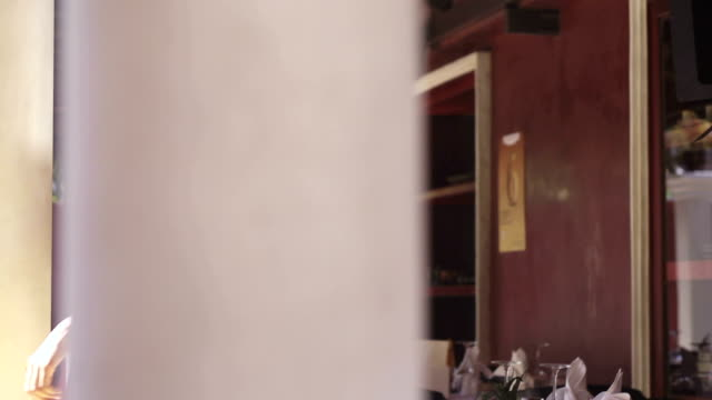 Portrait of beautiful asian woman working as waitress in restaurant video