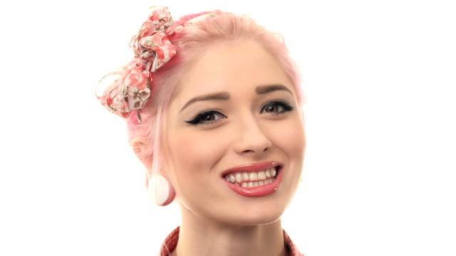 Portrait of beautiful girl model in pin up video