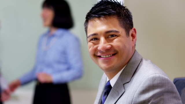 Portrait of business man smiling video