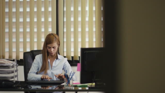 portrait of business woman working in office video