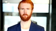 Portrait of Businessman with Red Hair, Beard video