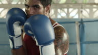 Portrait of caucasian boxer on ring looking at camera video