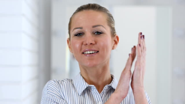 Portrait of Clapping Woman, Applauding video