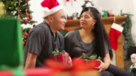 Portrait of couple with gifts on Christmas day video