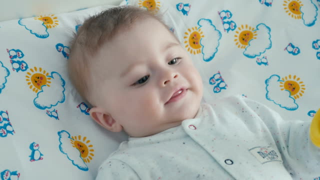 Portrait of cute little baby video