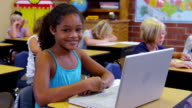 Portrait of elementary school student with laptop computer video