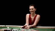 HD DOLLY: Portrait Of Excited Woman Winning Poker Game video