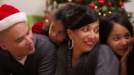 Portrait of family at Christmas video
