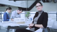 Portrait of female designer at working meeting in conference room video