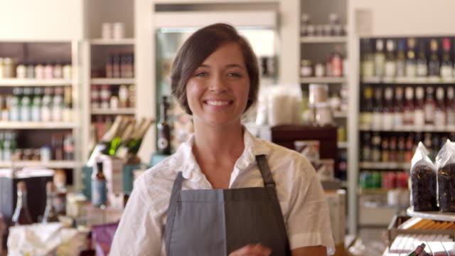 Portrait Of Female Employee In Delicatessen Shot On R3D video
