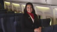 Portrait of female flight attendant video