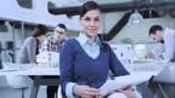 Portrait of female interior designer in the meeting room video